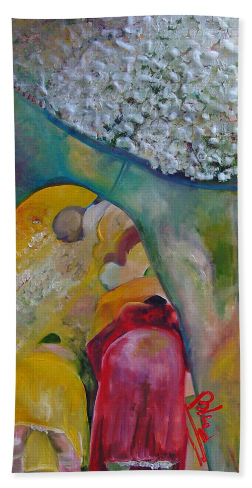Cotton Beach Towel featuring the painting Fields of Cotton by Peggy Blood