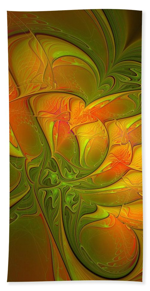 Digital Art Beach Towel featuring the digital art Fiery Glow by Amanda Moore