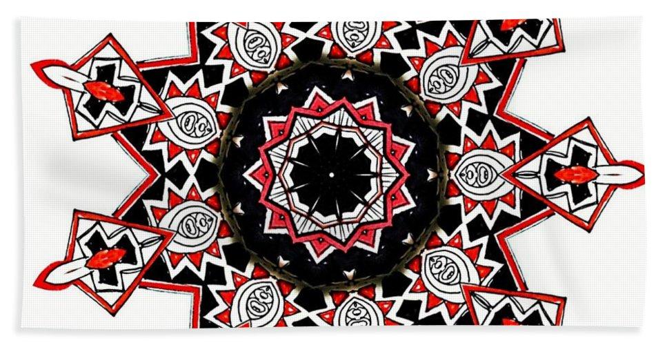 Mandala Beach Towel featuring the drawing Fiery Red by Mominah Arif