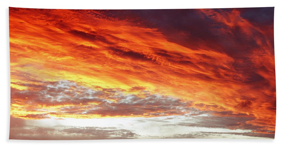 Beautiful Beach Towel featuring the photograph Fiery Sky by Les Cunliffe