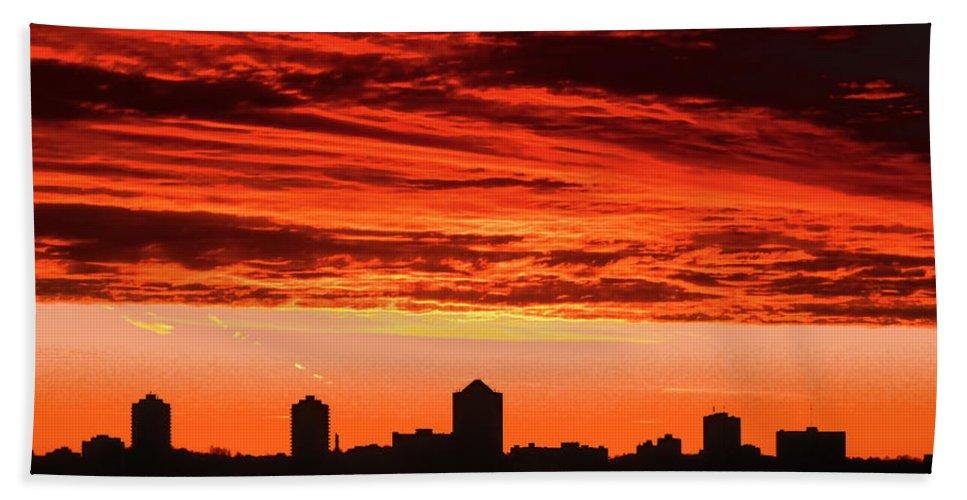Sky Beach Towel featuring the photograph Fiery Sunrise by Stephanie Moore