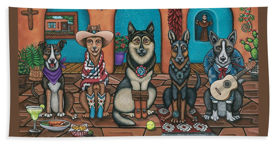 Dogs Beach Towel featuring the painting Fiesta Dogs by Douglas Jones