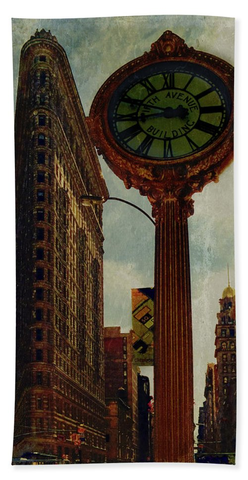 Fifth Avenue Beach Towel featuring the photograph Fifth Avenue Clock And The Flatiron Building by Chris Lord