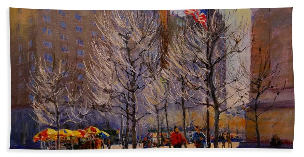 New York Beach Towel featuring the painting Fifth Avenue - Late Winter At The Met by Peter Salwen