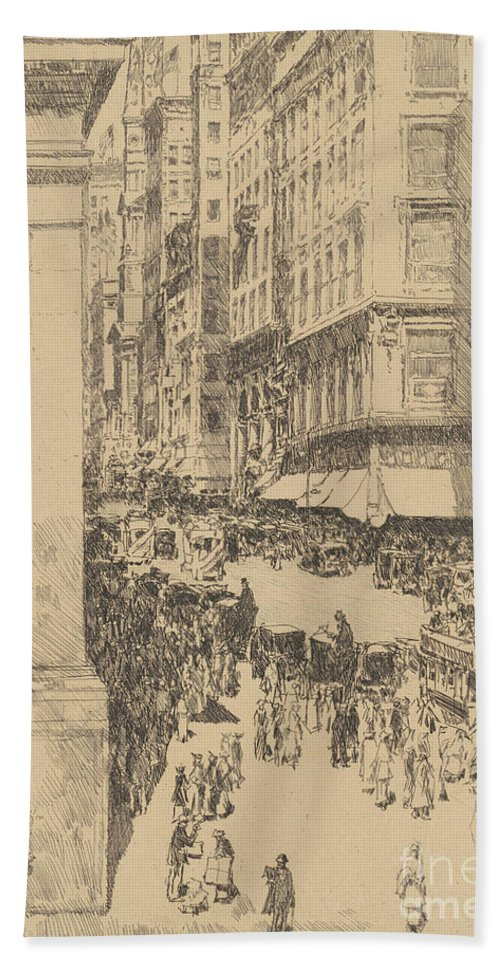 Childe Hassam Beach Sheet featuring the drawing Fifth Avenue, Noon, 1916 by Childe Hassam