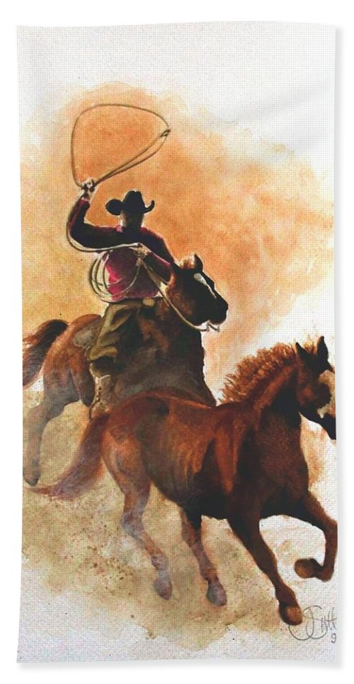Western Beach Towel featuring the painting Fighting For Freedom by Jimmy Smith
