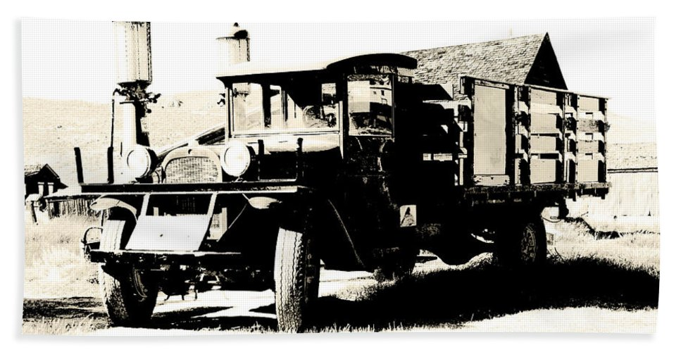 Old Truck Beach Towel featuring the photograph Fill Her Up by Chris Brannen