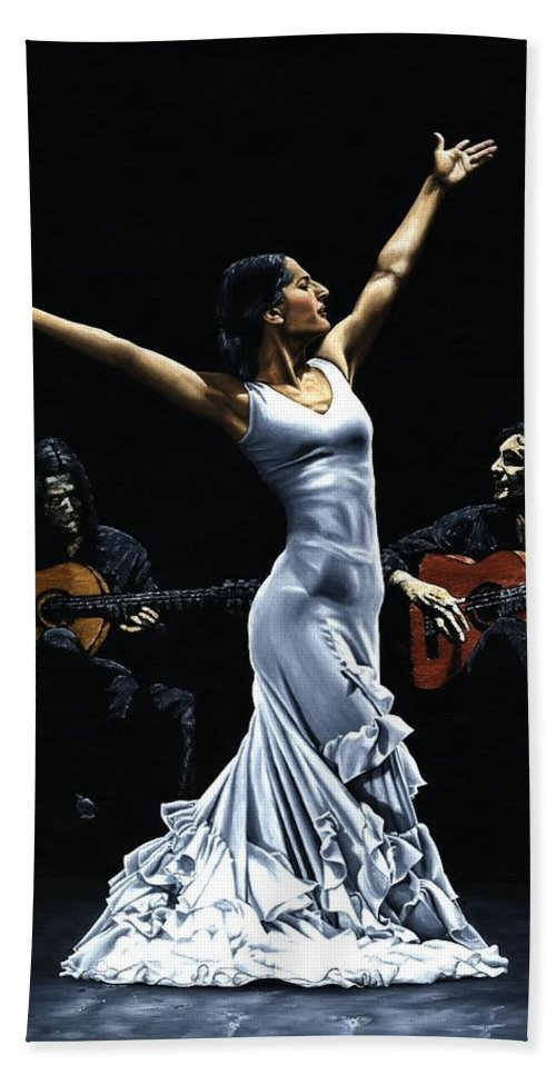 Flamenco Beach Towel featuring the painting Finale Del Funcionamiento Del Flamenco by Richard Young