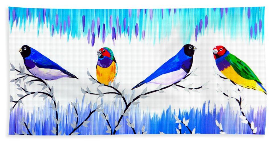Finch Beach Towel featuring the painting Finches by Cathy Jacobs