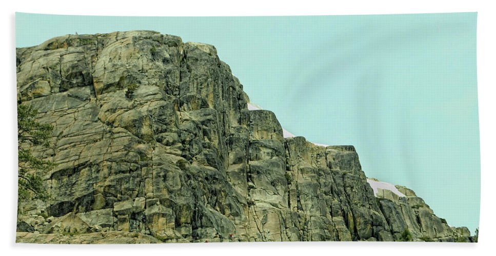 Donner Beach Towel featuring the photograph Find The Climbers by Donna Blackhall
