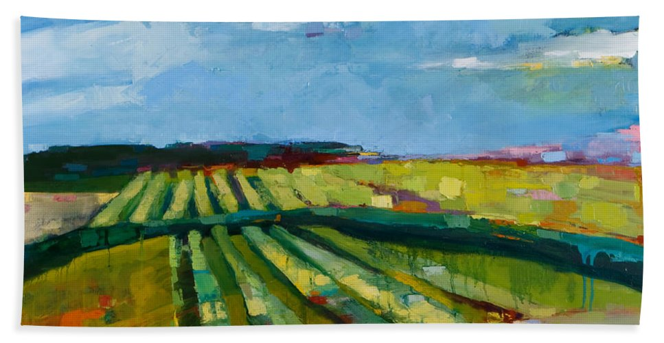 Landscape Beach Towel featuring the painting Fine Fields by Michele Norris