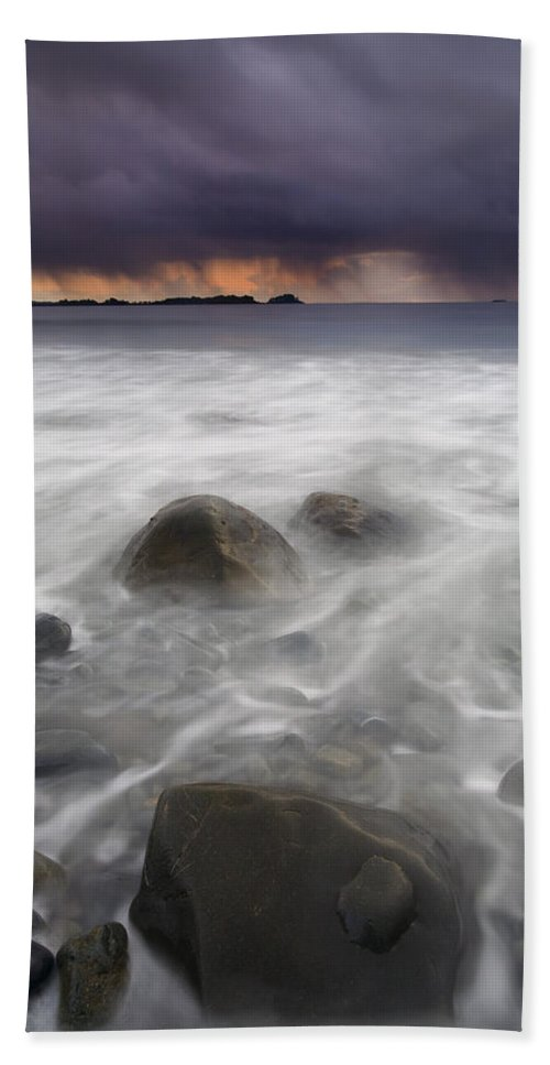 Storm Beach Sheet featuring the photograph Fingers Of The Storm by Mike Dawson