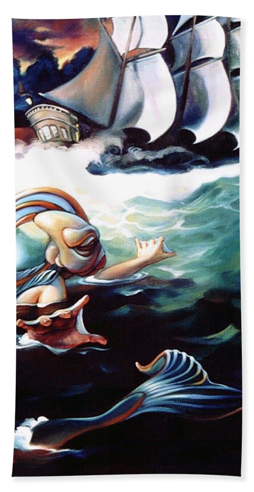 Seafarer Beach Towel featuring the painting Finnegan's Quest by Patrick Anthony Pierson