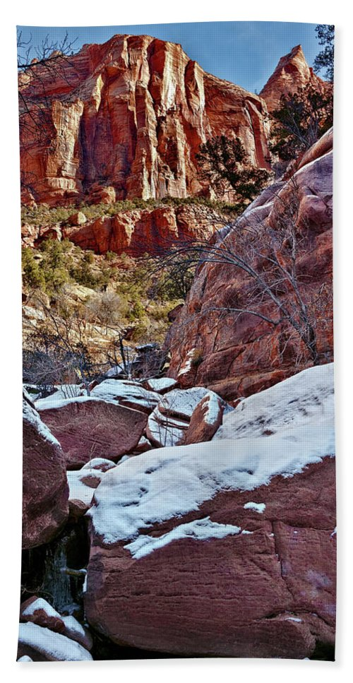 Zion Canyon Beach Towel featuring the photograph Fire And Ice by Christopher Holmes