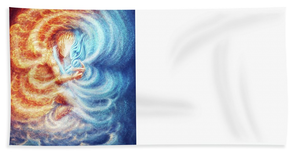 Fire Ice Elemenets Male Female Burn Burning Beach Towel featuring the painting Fire And Ice by Karolina Wegrzyn