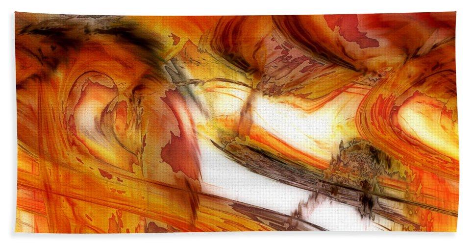 Abstract Art Beach Towel featuring the digital art Fire And Rain by Linda Sannuti