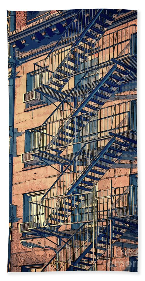 New York Beach Towel featuring the drawing Fire Escape by Delphimages Photo Creations