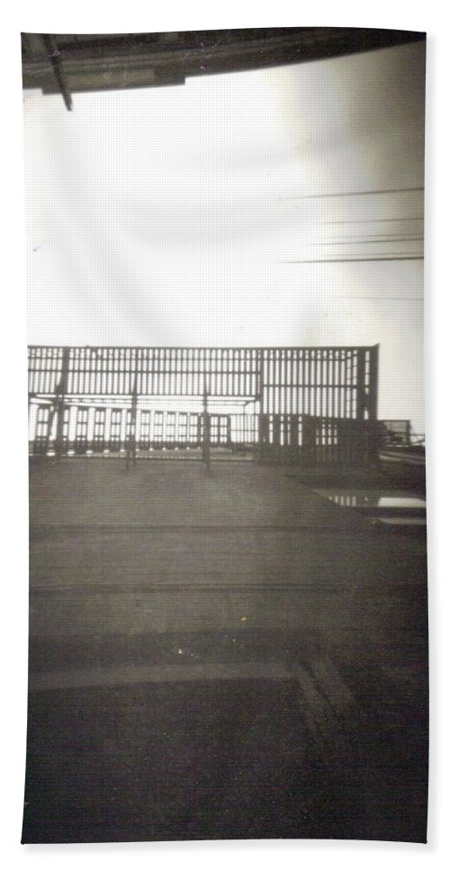 Black And White Photograph Beach Towel featuring the photograph Fire Escape by Thomas Valentine