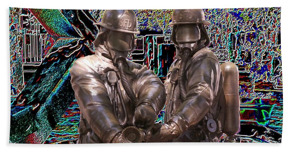 Fire Fighter Beach Towel featuring the photograph Fire Fighters Memorial Seattle by Tim Allen