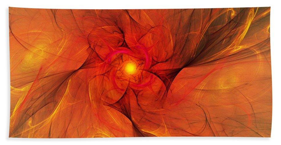 Fine Art Beach Towel featuring the digital art Fire Flower by David Lane