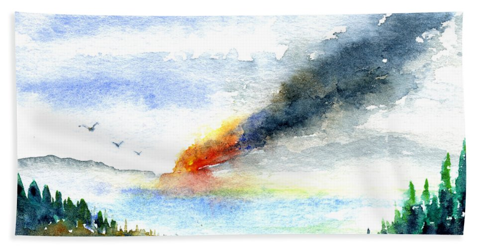 Fire Beach Towel featuring the painting Fire in the Mountains by John D Benson