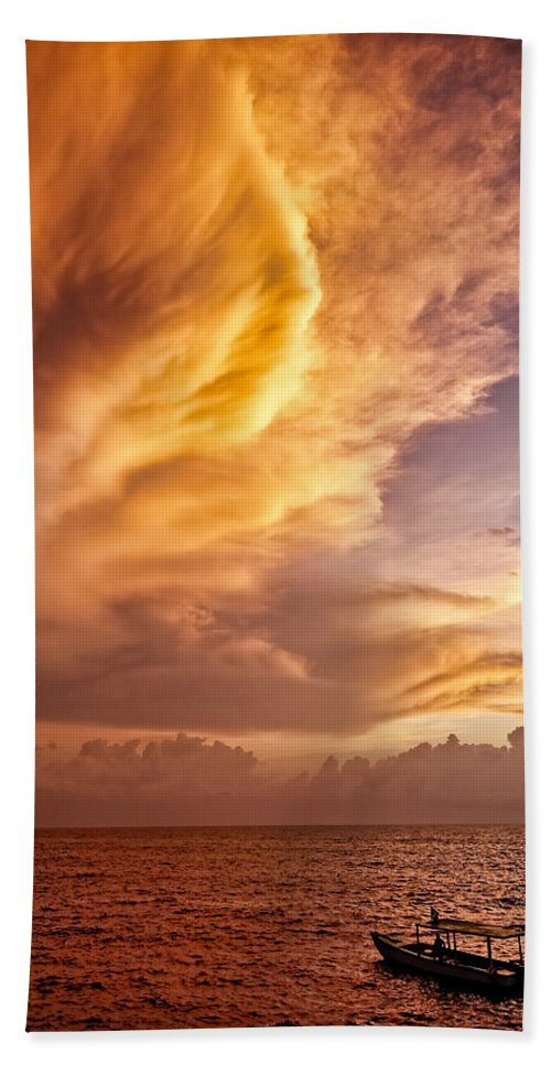 Jamaica Beach Towel featuring the photograph Fire In The Sky by Dave Bowman