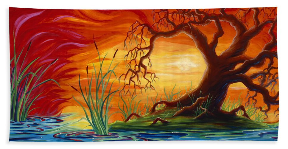 Tree Beach Towel featuring the painting Fire in the Sky by Jennifer McDuffie