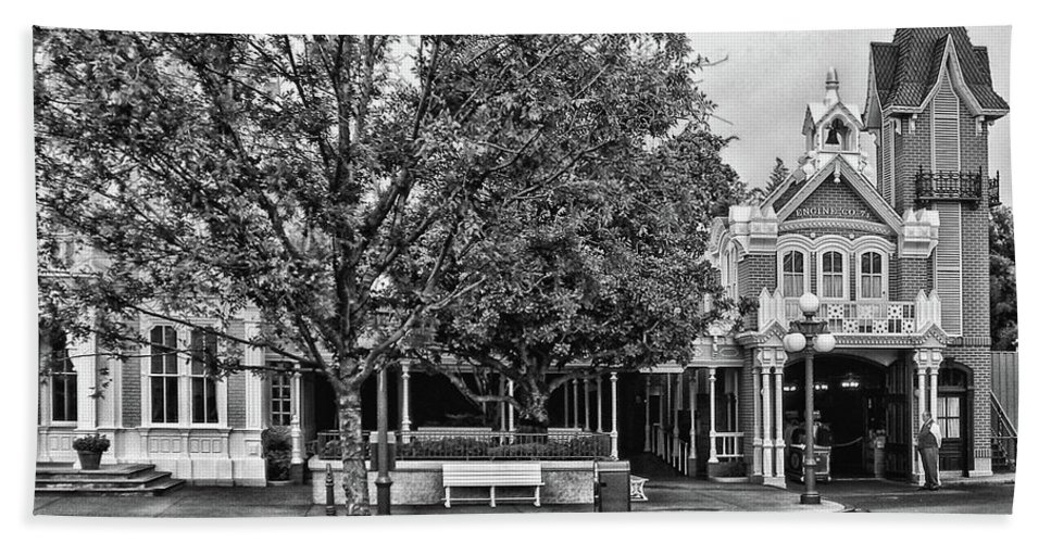 Black And White Beach Towel featuring the photograph Fire Station Main Street in Black and White Walt Disney World MP by Thomas Woolworth