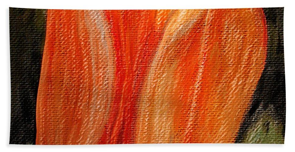 Arrangement Beach Towel featuring the digital art Fire Tulip by Svetlana Sewell