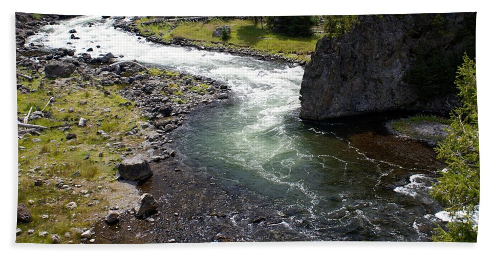 Yellowstone National Park. Firehole River Beach Towel featuring the photograph Firehole Bend by Marty Koch