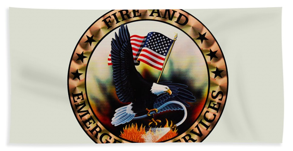 Fireman Beach Towel featuring the photograph Fireman - Fire And Emergency Services Seal by Paul Ward