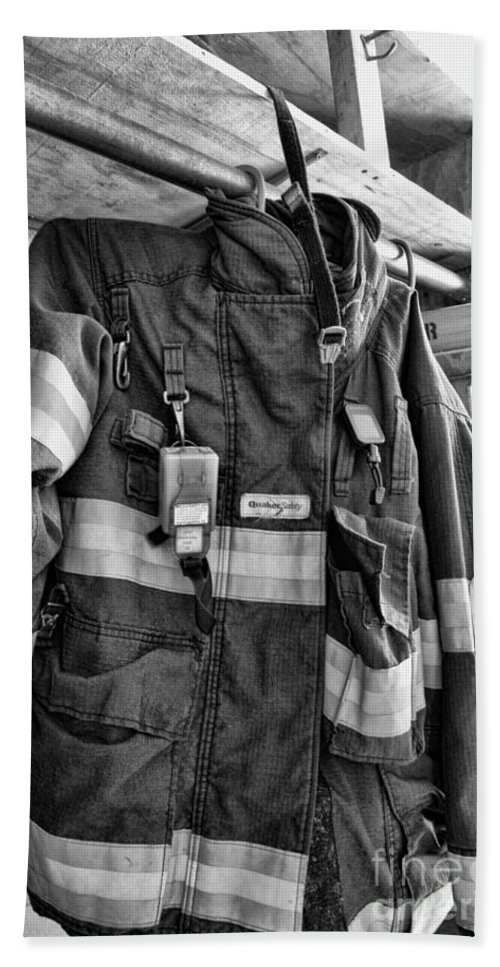 Fireman Beach Towel featuring the photograph Fireman - Saftey Jacket Black And White by Paul Ward