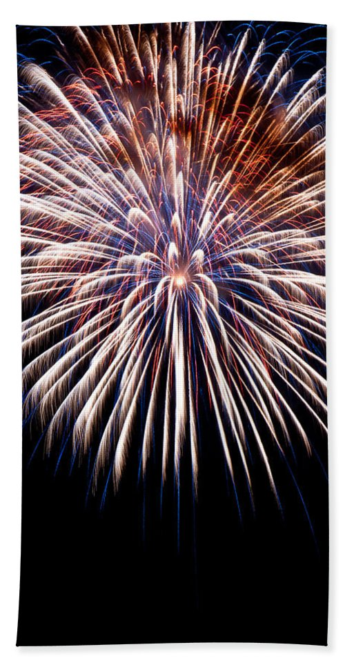 Firework Beach Towel featuring the photograph Firework Beauty by Colleen Coccia
