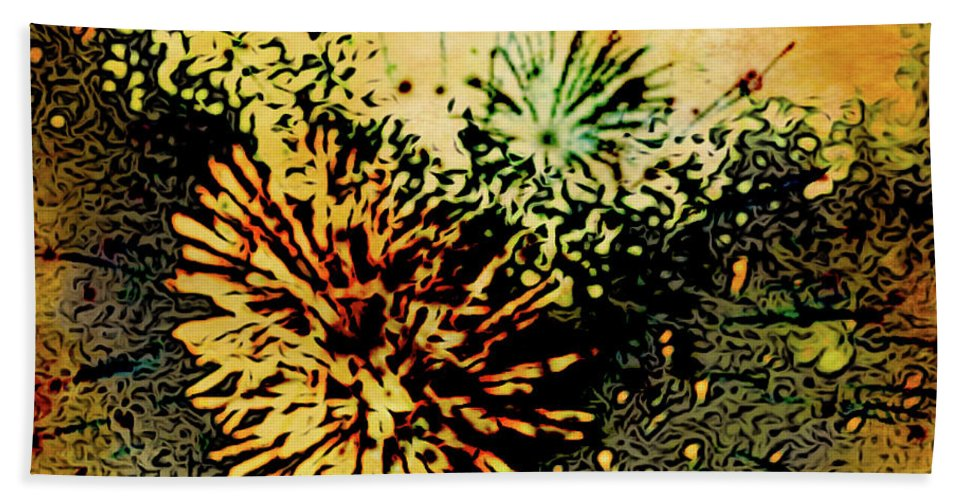 Fireworks Beach Towel featuring the painting Fireworks 1 by Joan Reese