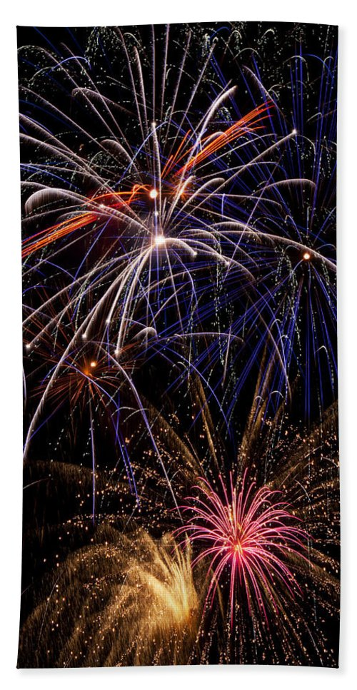 Fireworks 4th Of July Beach Towel featuring the photograph Fireworks Celebration by Garry Gay