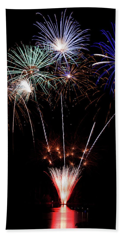 Fireworks Beach Towel featuring the photograph Fireworks Over Lake #14 by Karen Eubank