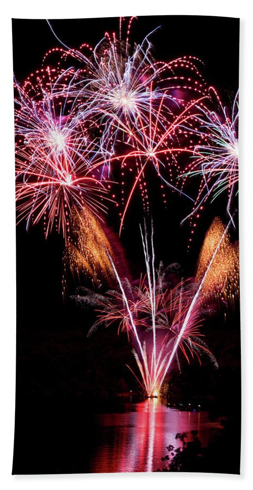 Fireworks Beach Towel featuring the photograph Fireworks Over Lake #15 by Karen Eubank