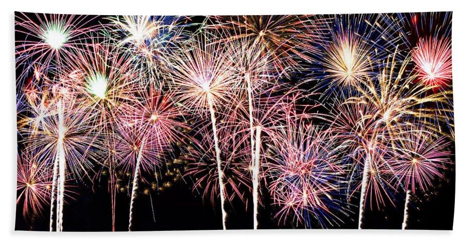 4th Beach Towel featuring the photograph Fireworks Spectacular by Ricky Barnard