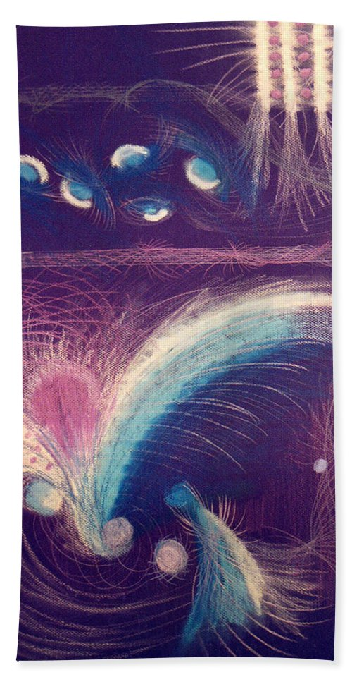 Abstract Beach Towel featuring the mixed media Fireworks by Steve Karol