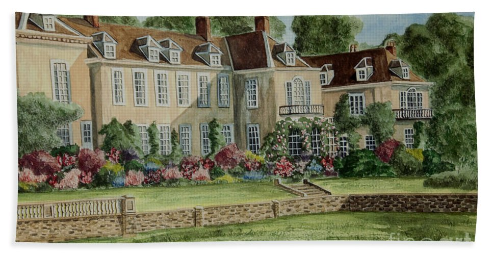 England Beach Towel featuring the painting Firle Place England by Charlotte Blanchard