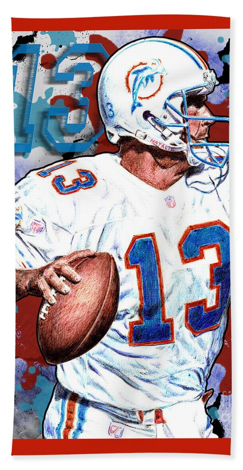 Dan Marino Beach Towel featuring the digital art First And Ten by Maria Arango