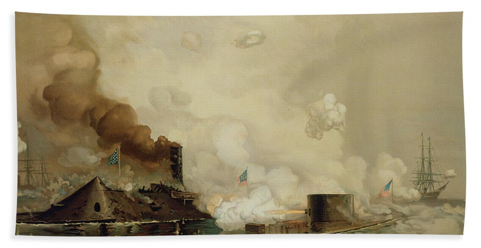 Armored; Warships; Battle; Facsimile Print; Naval; John Ericsson; Turret; Boat Beach Towel featuring the painting First Fight Between Ironclads by Julian Oliver Davidson
