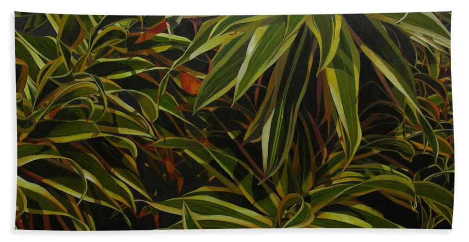 Leaves Beach Sheet featuring the painting First In Cabot by Thu Nguyen