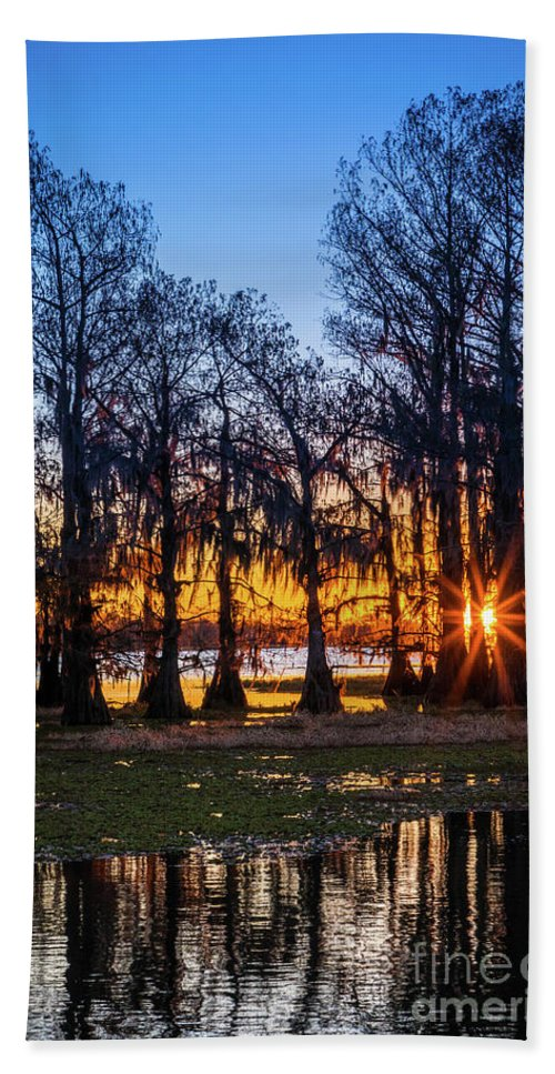 America Beach Towel featuring the photograph First Light At Caddo Lake by Inge Johnsson