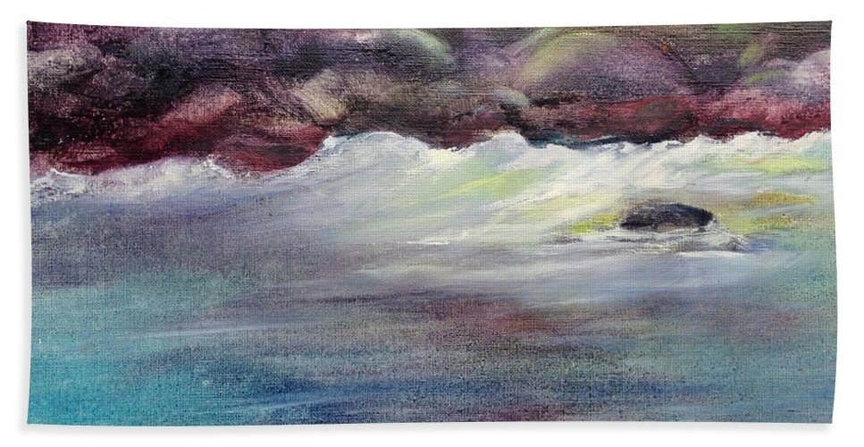 Beach Towel featuring the painting First Light At Hulihee by Richard Rochkovsky