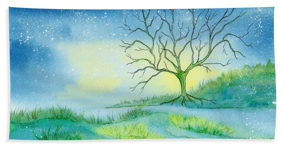 Watercolor Beach Towel featuring the painting First Light by Brenda Owen