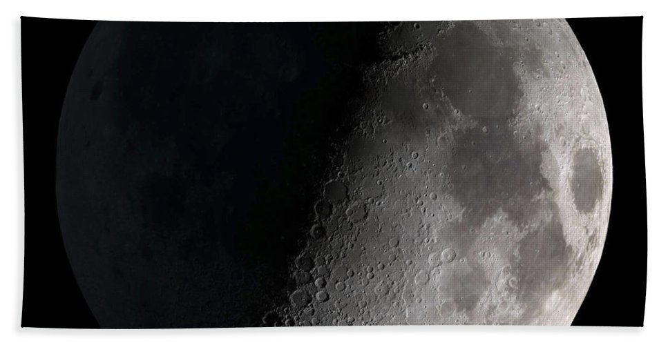 Mare Serenitatis Beach Towel featuring the photograph First Quarter Moon by Stocktrek Images