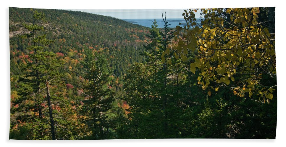acadia National Park Beach Towel featuring the photograph First Signs Of Fall by Paul Mangold
