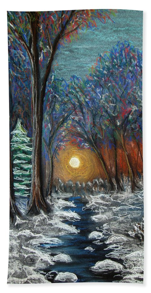 Snow Beach Towel featuring the pastel First Snow by Nancy Mueller
