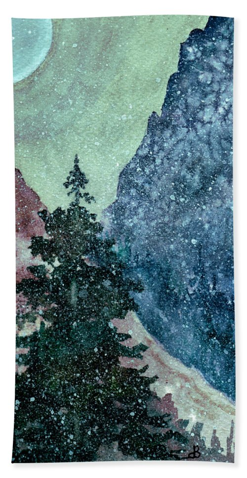 Landscape Beach Towel featuring the painting First Snowfall by Brenda Owen